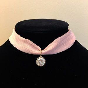 Jewelry - Pink Diamond Chiffon Choker